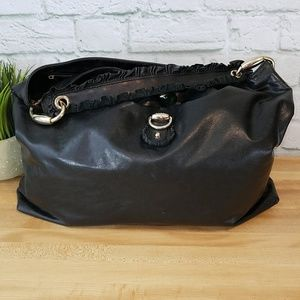 Gucci Large Black Leather Hobo Bag